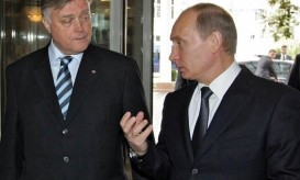 Russian PM Putin and Russian Railways Chief Executive Yakunin meet in Russia's Black Sea resort of Sochi