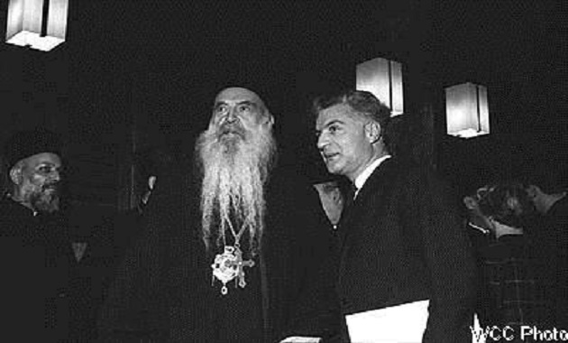 H.H. Athenagoras I in conversation with Dr Nikos Nissiotis