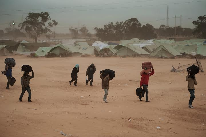 Ras Jedir, Tunisia - March 15th 2011- Refugees fled by the civil war in Libya, just arrived at the Choucha refugee camp.Ph. Giulio Piscitelli