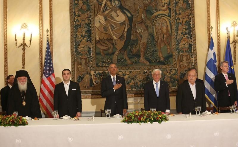 15/11: Ο Αρχιεπίσκοπος στο προεδρικό μέγαρο για το δείπνο που παρέθεσε ο Πρόεδρος της Δημοκρατίας Προκόπης Παυλόπουλος προς τιμήν του Μπάρακ Ομπάμα.