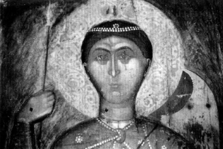 ο πρόσωπο της γλυπτής εικόνας του Αγίου Δημητρίου, κάποτε στον βυζαντινό ναό του Αγίου Γεωργίου στην Ομορφοκκλησιά Καστοριάς