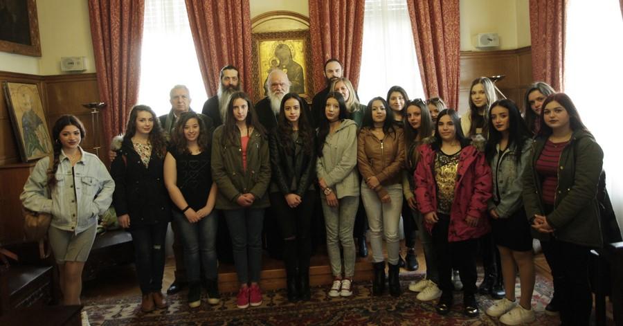 14/03: Μαθήτριες του προγράμματος Ευρωπαϊκός και Ελληνικός Πολιτισμός στον Αρχιεπίσκοπο.