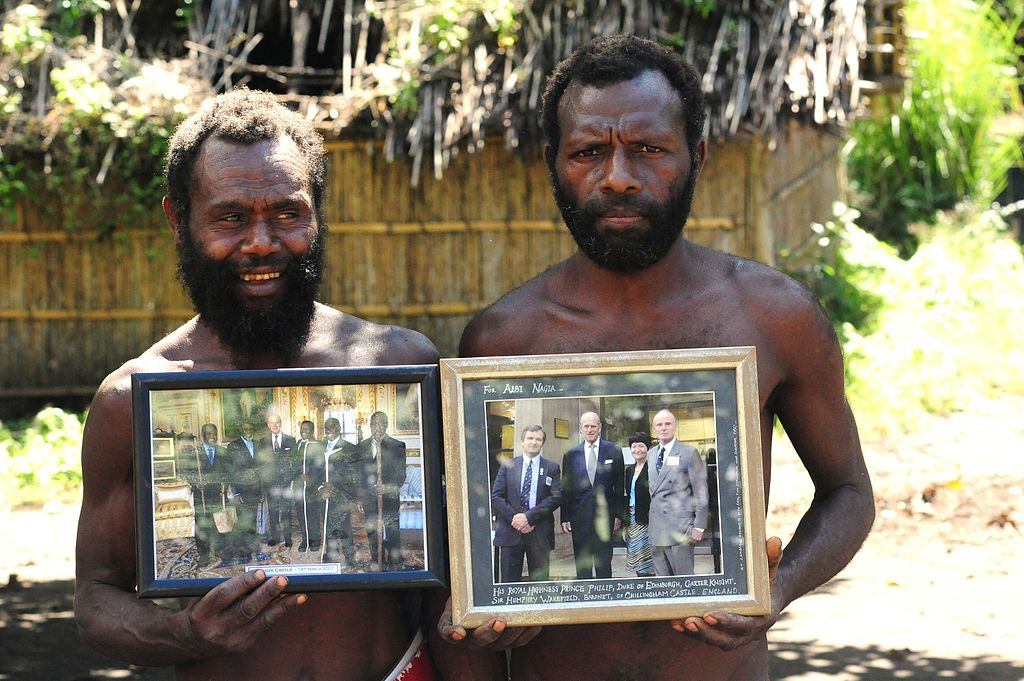 Yaohnanen Tribesmen Show Pictures of 2007 Visit with Prince Philip